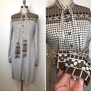 Tory Burch silk dress retro vibe 70's size medium